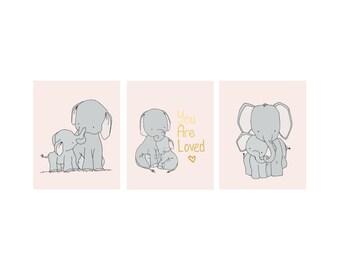 Elephant Nursery Art -- Elephant Mama and Baby Nursery Art -- Pink and Gray Nursery Decor -- You Are Loved -- Set of 3 Prints