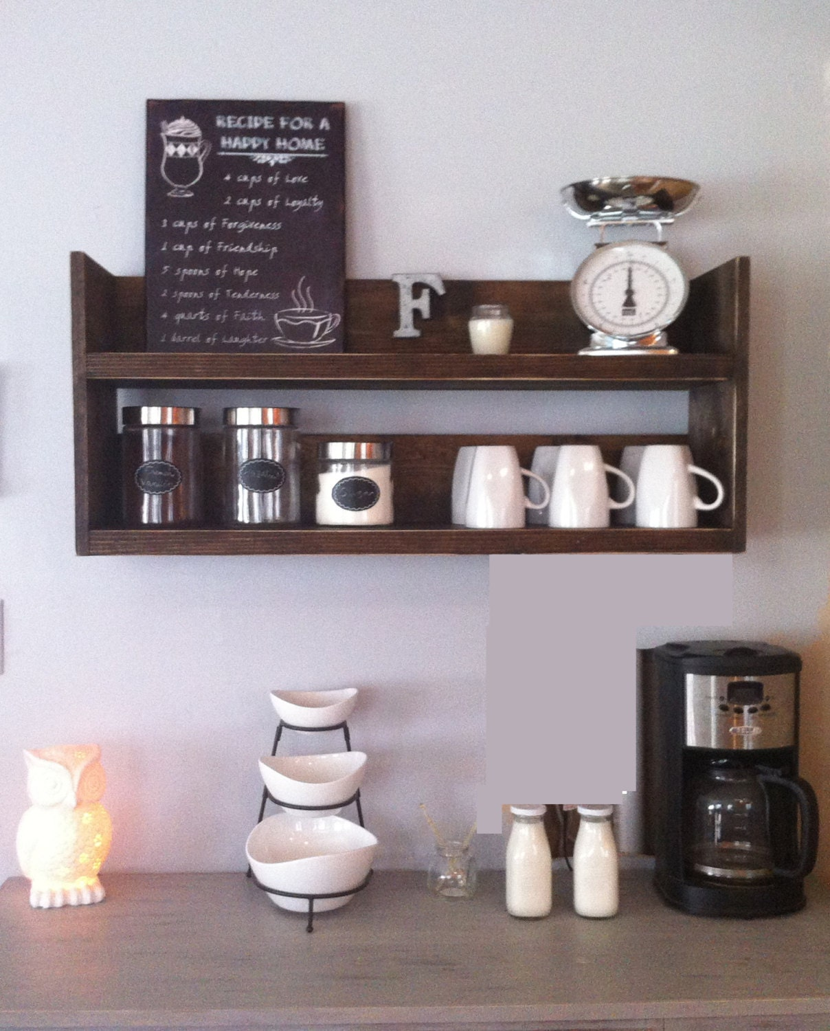 Rustic Kitchen Shelving Rustic Kitchen Shelf Coffee Shelf Coffee Bar Shelf
