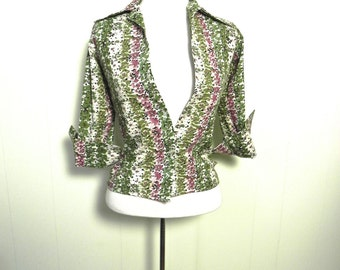 Vintage 1950s Top / Green and Purple Striped Flower Print Blouse Sm xsm - on sale