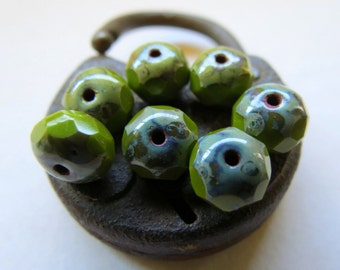 NEW . Dark Avo Rondelles . New Czech Picasso Glass Beads (10 beads) 6 mm by 8 mm