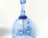 Vintage Blue Glass Bell Mother, Light Blue with Blue Flowers, Collectible, Artist Signed