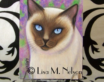 Original Siamese Tonkinese Seal Point Cat Colored Pencil Painting Art Miniature Mounted ACEO ATC