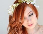 White flower crown, wedding headband, dogwood crown, bridal headpiece, woodland wedding, hair accessories - Willow