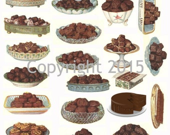 Printable Victorian Chocolate Candy Collage Sheet  Instant Digital Download,  for Decoupae, Altered Art, Scrapbook Embellishments