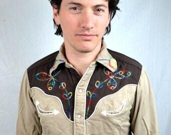 RARE Vintage 1950s Embroidered Rainbow H Bar C Western Rockabilly Pearl Snap Shirt