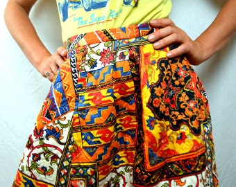 Vintage 60s Psychedelic Quilted Neon Maxi Skirt - Alex Colman