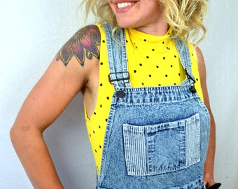 Vintage 80s Acid Wash Denim Mini Skirt Overalls