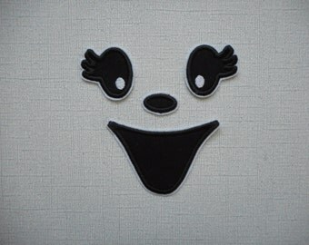 Halloween Ghost Face  ready to ship free shipping Machine Embroidery iron on applique