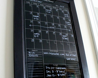 Wall Decor Perpetual Black Dry Erase Calendar Family Planner Kitchen or Home Decor Office Organizer Monthly Planner with shelf and key hooks