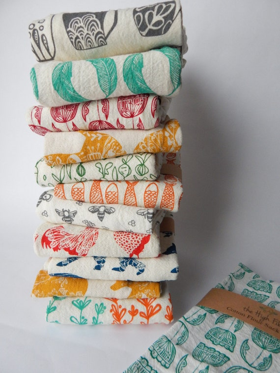 handprinted tea Towels