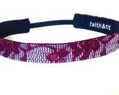 Fitness Headband, Workout Headband, Running Headband In Mini Stripe/Wine
