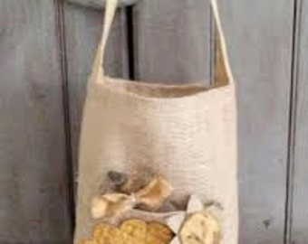 Tall BURLAP Tote with Primitive Flowers and Bee, RDT OFG