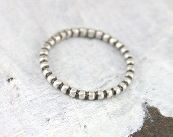 Beaded Stacking Ring, Bead Stacked Ring, Sterling Silver Ring, Layering Ring, Layered Ring, Thin Silver Ring, TagYoureItJewelry Etsy