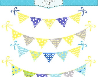 ON SALE Bunting clip art - set 2, Digital clip art  for all use, yellow and grey, blue, instant download