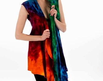 Rainbow Wave super soft rayon waterfall vest, Hippie clothes, Festival wear, Bohemian, plus size, beach cover-up
