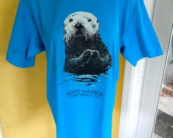 Noyo Harbor Seal California 1991 vintage tee shirt size medium/large