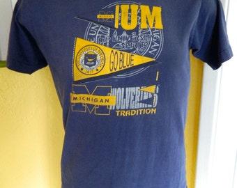 University of Michigan Wolverines 1980s vintage t-shirt - blue size medium/large