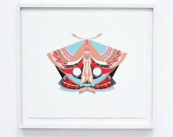 "Silkscreen ""Moth"" Geometric Large Original Screenprint, Hand printed, Limited Edition of 20 only"