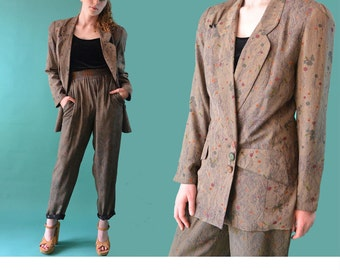 1980s Vintage High Waist Pants Suit / 80s Harem Pants Oversized Womens Blazer & Taper Pants / Platinum Harem Pants 80s Pantsuit S / M