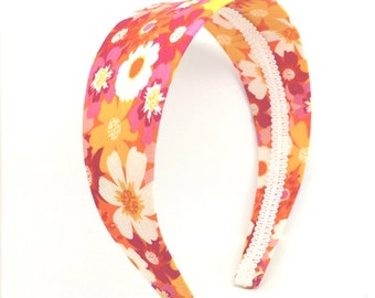 Bright Floral Headband -  Extra Wide Floral Headband - Big Girl Headband,  Adult Headband - Flower Print Headband
