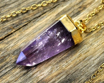 Crystal Necklace, Crystal Pendant Necklace, Crystal Gold Necklace, Crystal Point Necklace, Purple Crystal Necklace, 14k Gold Fill Chain