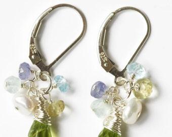 Peridot Earrings, August Birthstone, 40th Birthday Gift, Birthday, Cluster Earrings, Gemstone Earrings, Gemstone Earrings, Peridot Earrings