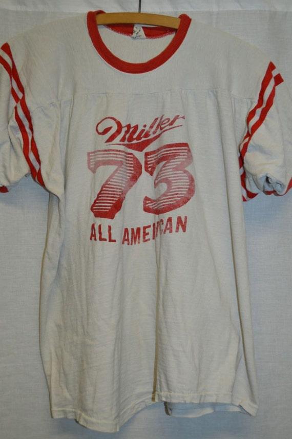 Vintage Miller Beer 1970 39 S Jersey Shirt T Shirt Sz L