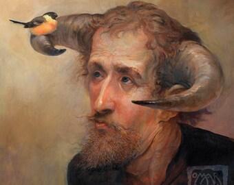 Bullfinch (print) bird, whistle, horns, faun, satyr, nature, birdwatcher