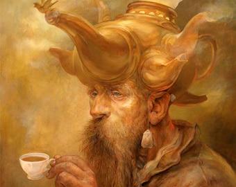 Mists of Oolong (print) - old man, tea, samovar, fantasy art, tea time, coffee shop, gold, artwork, illustration
