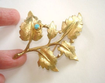 Turquoise Vintage Jewelry Signed Leaf Brooch