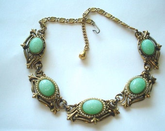 Vintage Jewelry Green Glass Scarab Necklace Gold Tone Repousse