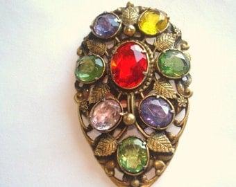 Fur Clip  Multi Color Crystal  Stones Brooch Gold  Tone