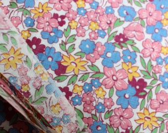 "Cotton FABRIC 36"" width unused Yardage 1 yard Quilting Feed sack style Calico Chintz Pink Blue Yellow Flowers 1940 by Plantdreaming"