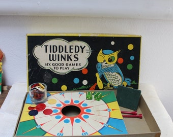 Tiddledy Winks Milton Bradley Plus 5 other Games NO. 4455 Owl Original Box Vintage by Plantdreaming