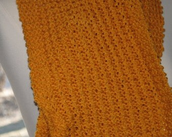"""Mida's Touch of Old Gold Fashion Reversible Scarf --   9"""" x 40"""""""