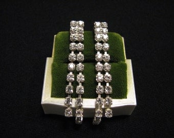 Vintage Silver Tone and Pave Diamond Rhinestone Cascading Dangle Pierced Earrings