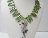 Green fringe shell necklace with antique pewter seahorse pendant, Statement Jewelry,Beach Wedding, Rustic ,Cruise Jewelry,Ocean Jewelry