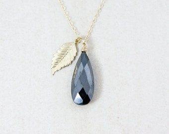 Gold Black Pyrite Necklace - Feather Charm - 14K GF