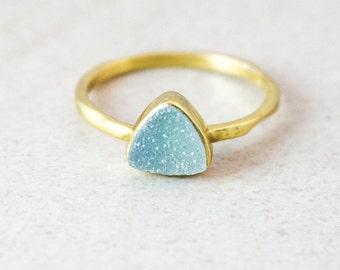 SALE Light Blue Druzy Ring - Geometric Druzy Ring - Gold