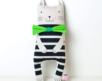 softie toy cat in black and gray stripes with bow tie