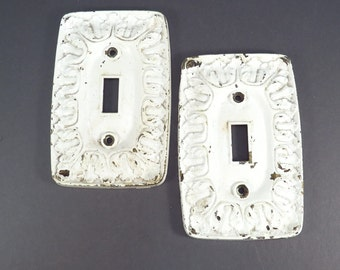 Shabby Chic Switchplate Cover Pair Vintage Industrial Salvage Single Switch Cover