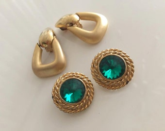 Lot of Two Vintage Pair of Clip On Earrings in Gold Tones -- Hollywood Regency