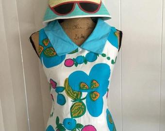 Super Fun Turquoise Fun in the Sun 60's Summer Dress by Keone Sportswear, Size S-M