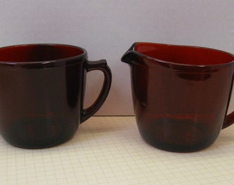 Anchor Hocking Royal Ruby Sugar and Creamer Set - Flat Bottom