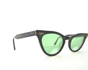 50s Can Op Brand Cat Eye Eyeglasses Frames Women's Vintage 1950's Black Frames No Lenses