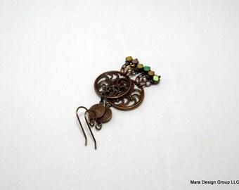 Hematite chandelier artisan earrings