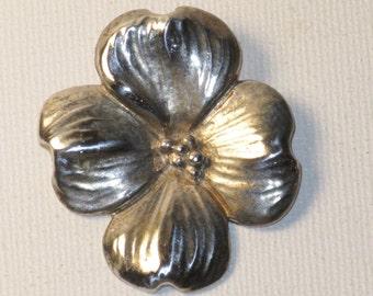 Vintage H&H Sterling Silver Dogwood Brooch Pin (B-2-3)