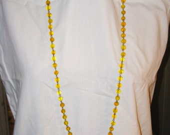 Antique Vintage Long Yellow Glass Flapper Necklace (N-1-3)