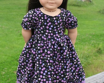 Purple floral dressy dress For American Girl dolls