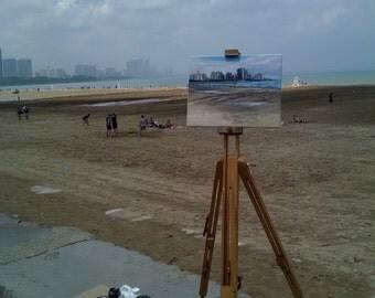 Chicago Plein Air Painting of Montrose Beach - 14x11in Original Oil Landscape Painting